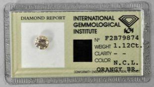 DIAMANT 1, 11ct, Fancy-Diamond in Orange-Brauner Farbe, eingeschweißt mit Beschreibung, Nummerierung