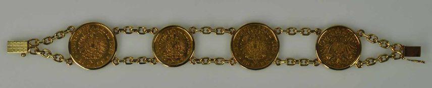 MÜNZARMBAND vier Goldmünzen in schlichter Fassung, Wilhelm I 20 RM 1874, 10 RM 1873, 20 RM Friedrich