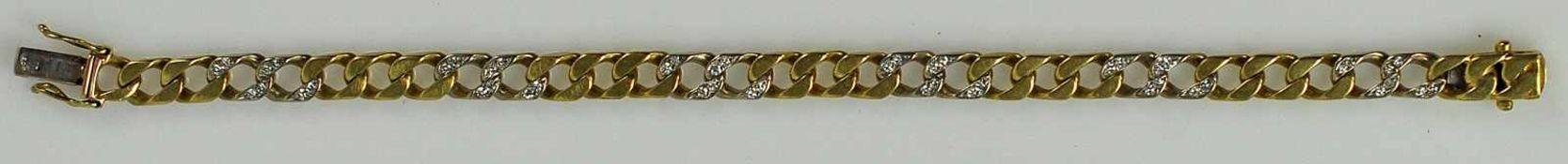 DIAMANTARMBAND bicolor, Panzerband mit Gelbgoldgliedern im Wechsel mit diamantbesetzten
