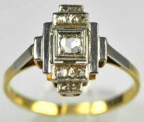 ANTIKER RING geometrische Schauseite besetzt mit Diamantrosen, Platin mit Gelbgoldverbödung, 12x9mm,