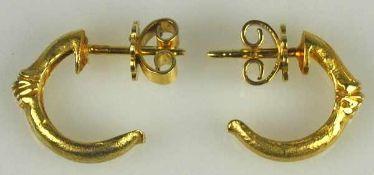 PAAR OHRSTECKER Bögen mit strukturierter Oberfläche, rückseitig Stecker und Schraube, Gelbgold 14ct,