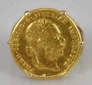 MÜNZRING Goldmünze Franz Josef von Österreich, Nachprägung, in Goldfassung 14 ct, leicht verbogen,