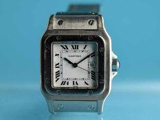 Armbanduhr, Modell Santos, Cartier, Paris, 21. Jh. Edelstahl. Automatik. Saphirglas. Weißes