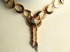 Collier mit 11 kleinen Diamanten, zusammen ca. 0,2 ct, 50-er Jahre. 750/- Roségold. Gesamtgewicht