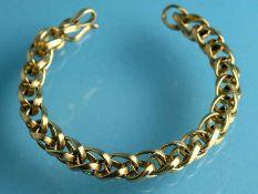 Armband, Goldschmiedearbeit, gestempelt JB, 20. Jh. 750/- Gelbgold. Gesamtgewicht ca. 61,9 g. Ovale,