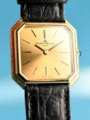 Armbanduhr, Baume & Mercier, Geneve, 80- er Jahre Gehäuse in 750/- Gelbgold. Braunes Lederarmband in