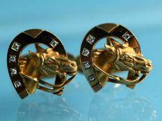 Paar Manschettenknöpfe mit Hufeisen und Pferdekopf, 10 kleine Brillanten, zusammen ca. 0,1 ct,