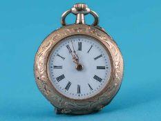 Damentaschenuhr, um 1900 585/- Roségold. Staubdeckel und Krone, Doublé. Gesamtgewicht ca. 18,6 g.