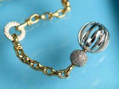 Collier mit Achtkant-Diamanten, gestempelt Antonini, Italien 90- er Jahre 750/- Gelb- und