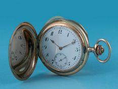 Herren-Savonette, um 1900 585/- gelbgoldenes Gehäuse und Staubdeckel. Gesamtgewicht ca. 114,5 g.