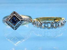 2 verschiedene Ringe mit kleinen Achtkant-Diamanten und Saphiren, 21. Jh. 1.) 750/- Gelb- und