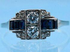 Ring mit Saphir-Carrées, Achtkant-Diamant und Altschliff-Diamanten, zusammen ca. 0,46 ct, Art Deco