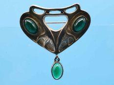 Brosche mit 3 grünen Achat-Cabochons, bezeichnet Theodor Fahrner, Jugendstil 935/- Silber,