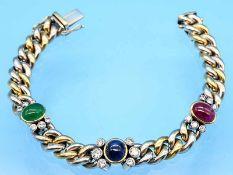 Panzerarmband mit Smaragd,- Rubin- und Saphir-Cabochons und 18 Diamanten, zusammen ca. 1,2 ct,
