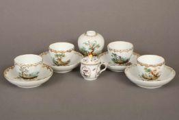Konvolut ROYAL COPENHAGEN Porzellanfrühes 19. Jahrhundert, bestehend aus 4 Tassen mit Untertassen, 1
