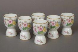 6 ROSENTHAL Wende-Eierbecher (für Gänse- und Hühnereier)Porzellan, um 1930, Floraldekor, Goldrand, H