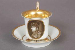MEISSEN Napoleon-Tasse mit Untertasse1. Hälfte 19. Jhdt., Empire-Form auf 3 Tierklauen, ovale