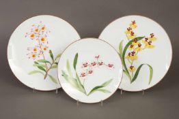 3 HÈRMES Teller aus der Serie ¨Jardin des Orchidées¨ mit diversen Orchideenmotiven, 2