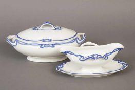 2 Teile VILLEROY & BOCH Keramikum 1900, Dekor Blaue Olga (Jugendstil-Rankendekor), bestehend aus 1