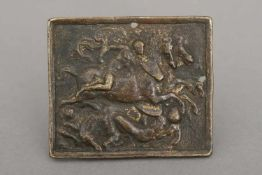 OBERITALIENISCHER MEISTER des 16. Jahrhunderts Reliefplakette ¨Reiterkampf¨Bronze, dunkel