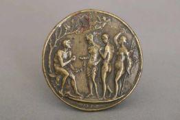 MEISTER IO.F.F. (aktiv um 1500) Reliefplakette ¨Das Urteil des Paris¨Bronze, Oberitalien (Bologna?),