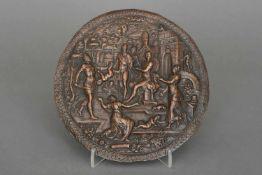 Reliefplatte des späten 16. Jahrhunderts ¨Das Urteil des Salomo¨Kupfer, braun patiniert,