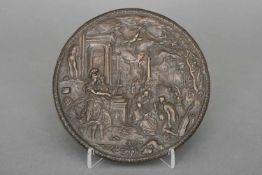Reliefplakette ¨Pallas Athene führt die Malerei in den Kreis der Freien Künste¨Bronze, braun