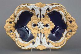 MEISSEN PrunkschalePorzellan, 2. Hälfte 20. Jhdt., ovale, passige Form, vertieft, Reliefdekor (
