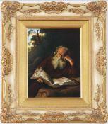 F. H. PORZELLAN Porzellanbild nach einem Motiv von SALOMON KONINCK ¨Der Eremit¨handgemalt,