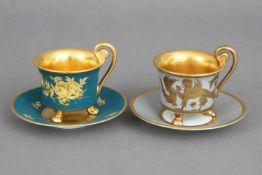 2 ROSENTHAL Mokkatassen der 1930er Jahreunterschiedliche Dekore, handgemalt, 1x goldenes