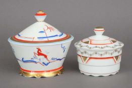 2 Art Deco Porzellan Deckeldosen ARZBERG und SCHALLER Porzellan, Bavaria, runde Dosen mit