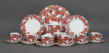 VILLEROY & BOCH Kaffeeservice ¨Keith Haring¨Porzellan, 1991, Ex. 235/1000, 15-teiliges Set mit 6
