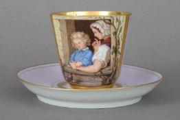 unbekannte Manufaktur (ungemarkt), violetter Fond mit Goldrand, schauseitig eckige Reserve mit