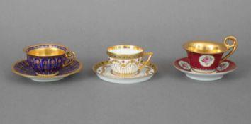 3 Dresden Mokkatassen der Jahrhundertwendediverse Formen, Dekore und Manufakturen, 1x königsblauer