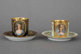 Paar DRESDEN Porträttassenum 1900-30, handgemalte Porträts historischer Edel-Damen, 1x ¨Gräfin