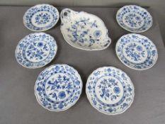 Konvolut Porzellan Zwiebelmuster Prägemarke Meissen sowie gedruckt unter Lasur 7 Teile- - -20.00 %