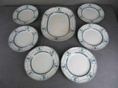 Essgeschirr England Deva Mintons Fleischplatte und sechs Teller um 1880- - -20.00 % buyer's