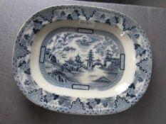 Antike Fleischplatte Villeroy & Boch asiatische Ornamentik 40x32cm um 1900- - -20.00 % buyer's