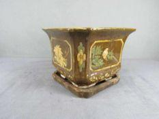 Keramik Blumentopf Worpswede lasiert Blütendekor 30x30x24cm- - -20.00 % buyer's premium on the
