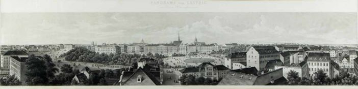 Salathé, Friedrich. 1793 Binningen - Paris 1858Panorama von Leipzig. Aquatintaradierung. 24 x 102