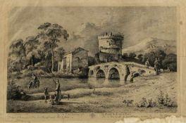 Boissieu, Jean-Jacques de. 1736 - 1810Vue du Pont Lucano sur la route de Rome a Tivoli. Radierung.