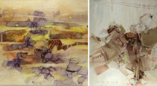 Heinecke, Wolf. 1929 FriedrichrodaAbstrakte Kompositionen. 2 Mischtechn. Sign. und dat. (19)71 und