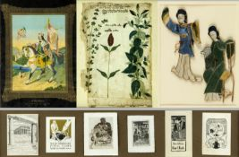 Dekorative GraphikSt. Wenzeslaus. Ex libris. Pflanze u.a. 7 Bll. versch. Techn. Bis 49 x 35 cm.