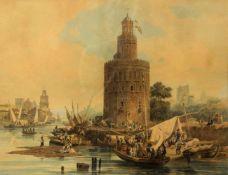 Beseman, Adolph. 1806 Göttingen - Sankt Petersburg 1867Der Goldturm in Sevilla. Aquarell. Sign.