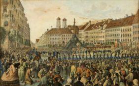 Kraus, Gustav Wilhelm. 1804 Passau - München 1852Fronleichnamsprozession auf dem Marienplatz in