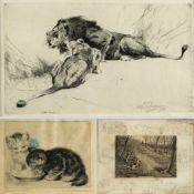 Kuhnert, W. Plückebaum, M. Kutzner, T. u.a.Liegendes Löwenpaar. Katzen. Hunde. Kälber. 8 Bll.