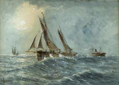Adams, E.Schiffe auf stürmischer See. Gouache. Sign. 27 x 38 cm.