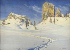 Maertens, Max. 1887 Braunschweig - Gstadt (Chiemsee) 1970Dolomiten im Winter. Aquarell. Sign. und