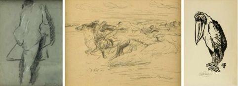 Dill. Pankok. SteinlenPferderennen. Marabu. Weiblicher Rückenakt. 1 Lithographie. 1 Holzschnitt. 1