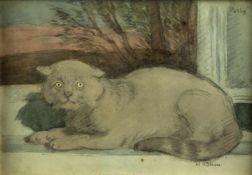 Röhm, HansPolly liegend auf der Fensterbank. Aquarell über Bleistift. Sign. 19 x 28 cm.
